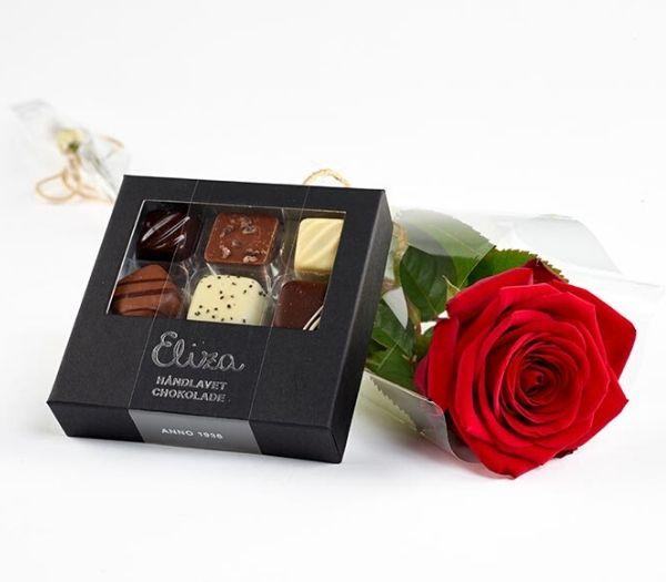 Rød rose med chokolade studentergaver