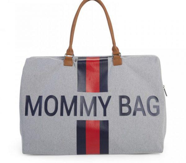 Childhome Mommy Bag Pusletaske - Grå Med Striber