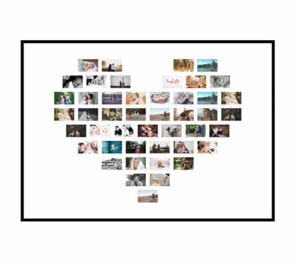 Hjertecollage med 46 billeder gaveide til kæresten