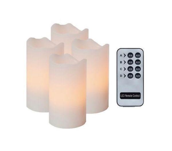 LED Lys i Ægte Stearin - Sæt med 4 stk._