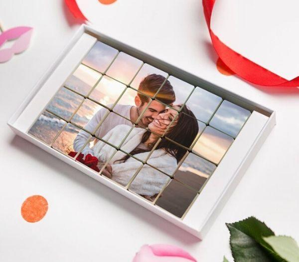 Personlig chokolade med billede gaveide til kæresten