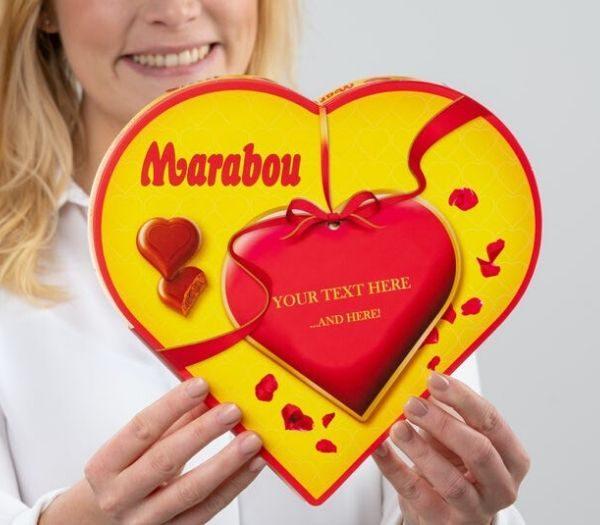 Personliggjort Chokoladeæske med Marabou Hjerter studentergaver